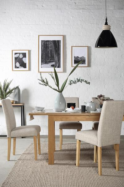 Hamilton 120-170cm Oak Extending Dining Table - with 6 City Oatmeal Chairs