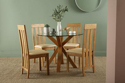 Hatton oak and glass Chester oak chairs main