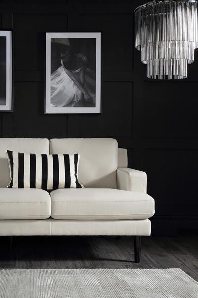 Finsbury ivory leather 3 seater sofa