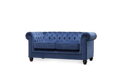Hampton blue velvet 2 seater sofa