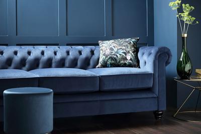 Hampton blue velvet 3 seater sofa
