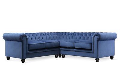 Hampton blue velvet corner sofa