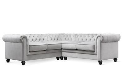 Hampton grey velvet corner sofa