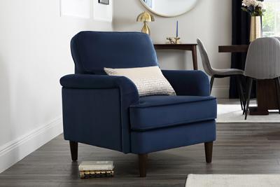 Pembroke blue velvet armchair