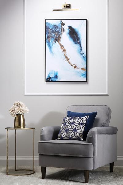 Pembroke grey velvet armchair