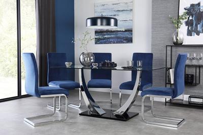 peake table perth blue velvet chairs