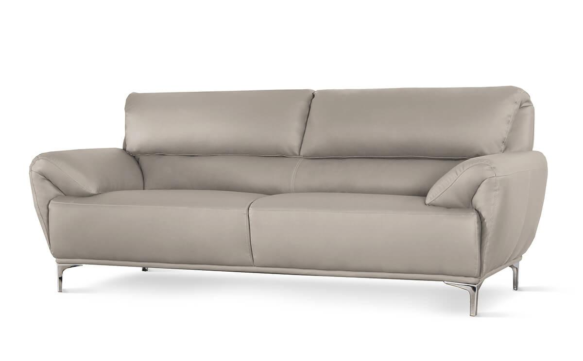 Enzo Taupe Leather 3 Seater Sofa