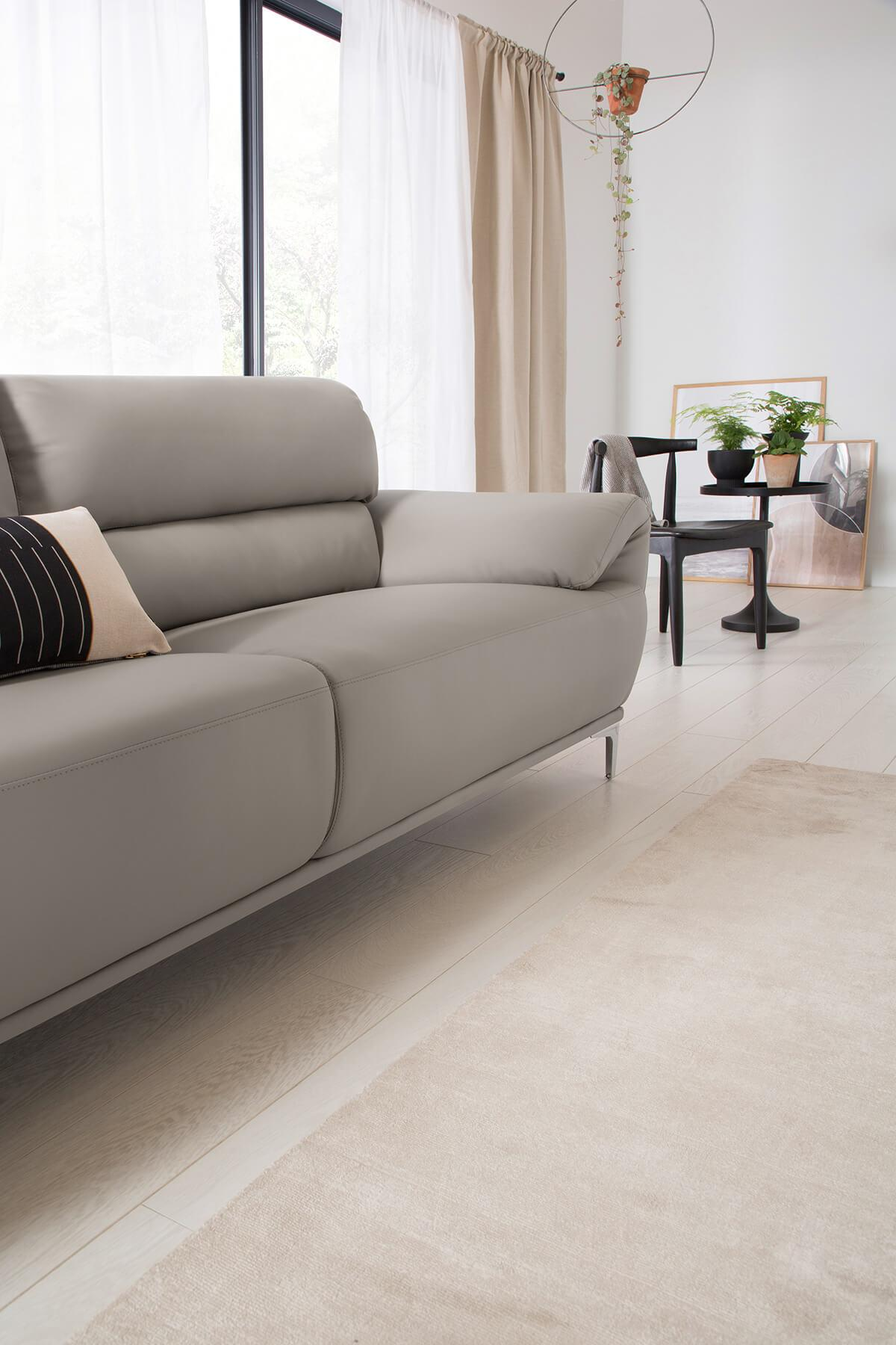 Enzo Taupe Leather Sofa Range