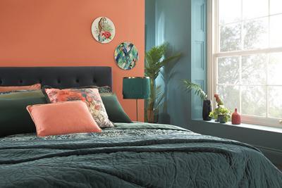Brompton blue velvet bed lifestyle