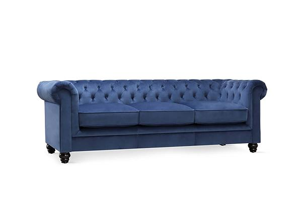 Hampton Blue Velvet 3 Seater