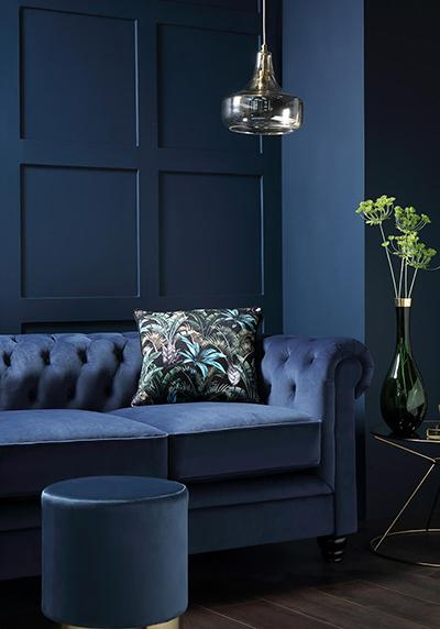 Hampton Blue Velvet Sofa
