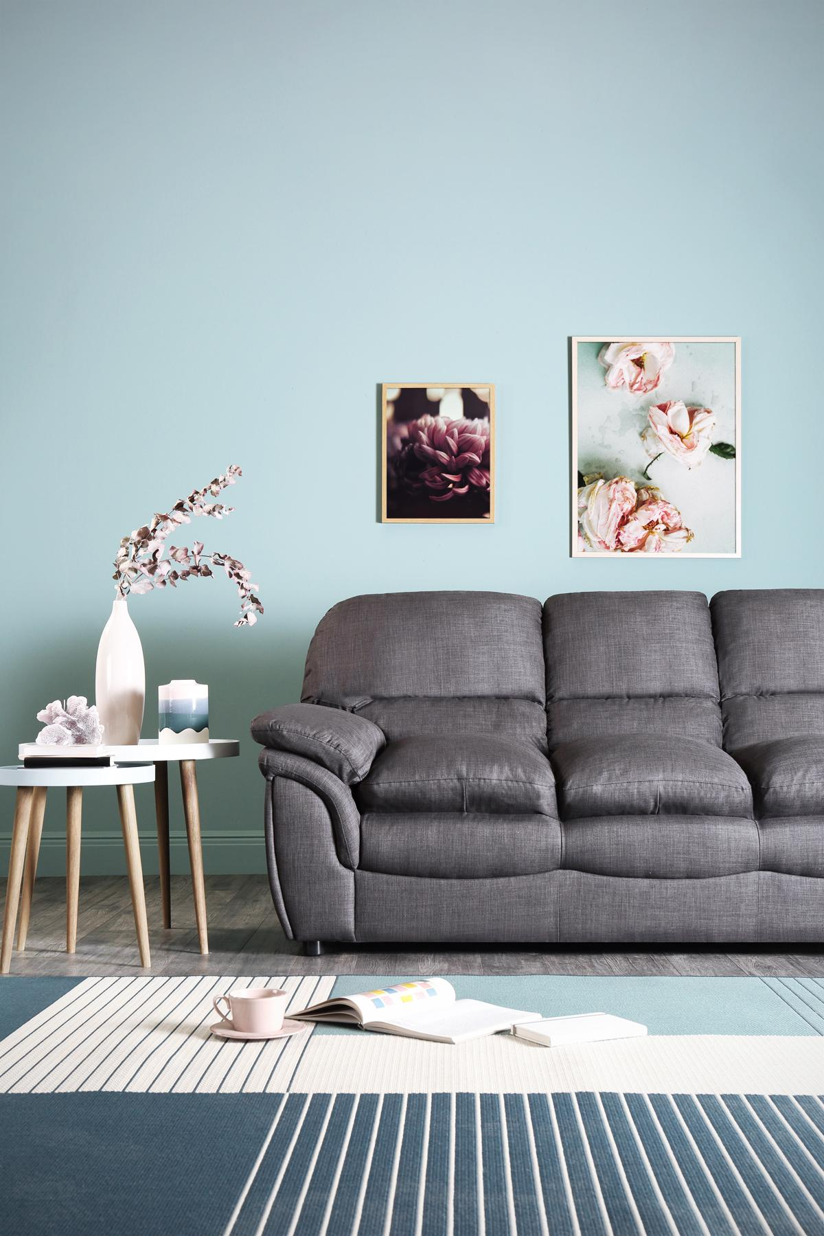 Rochester slate grey fabric 3 seater