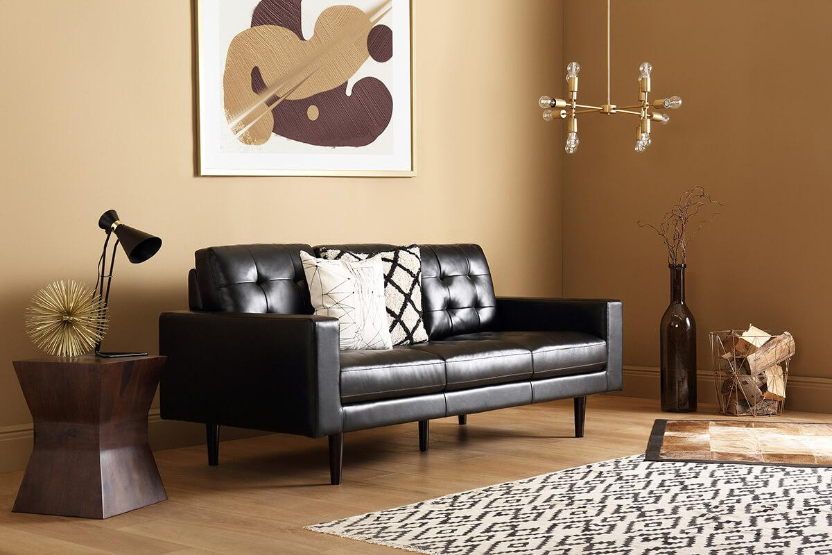 Carlton black 2-seater leather sofa