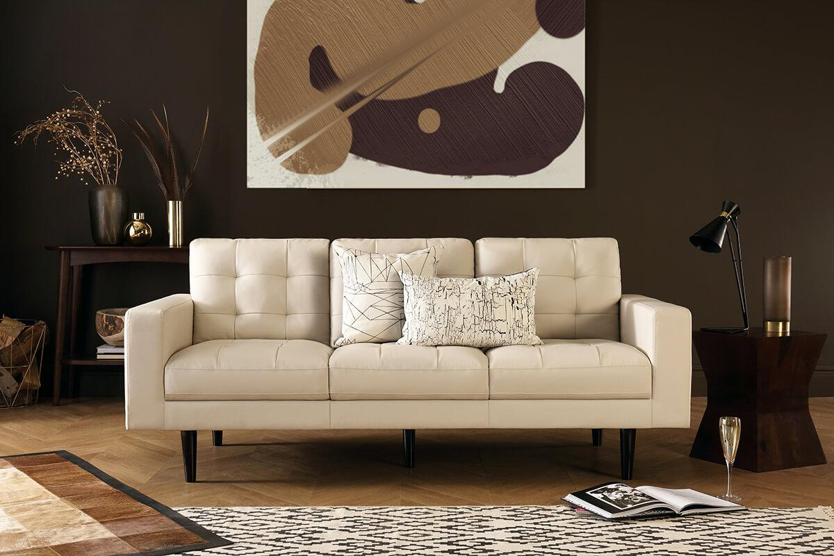 Carlton ivory 2-seater leather sofa
