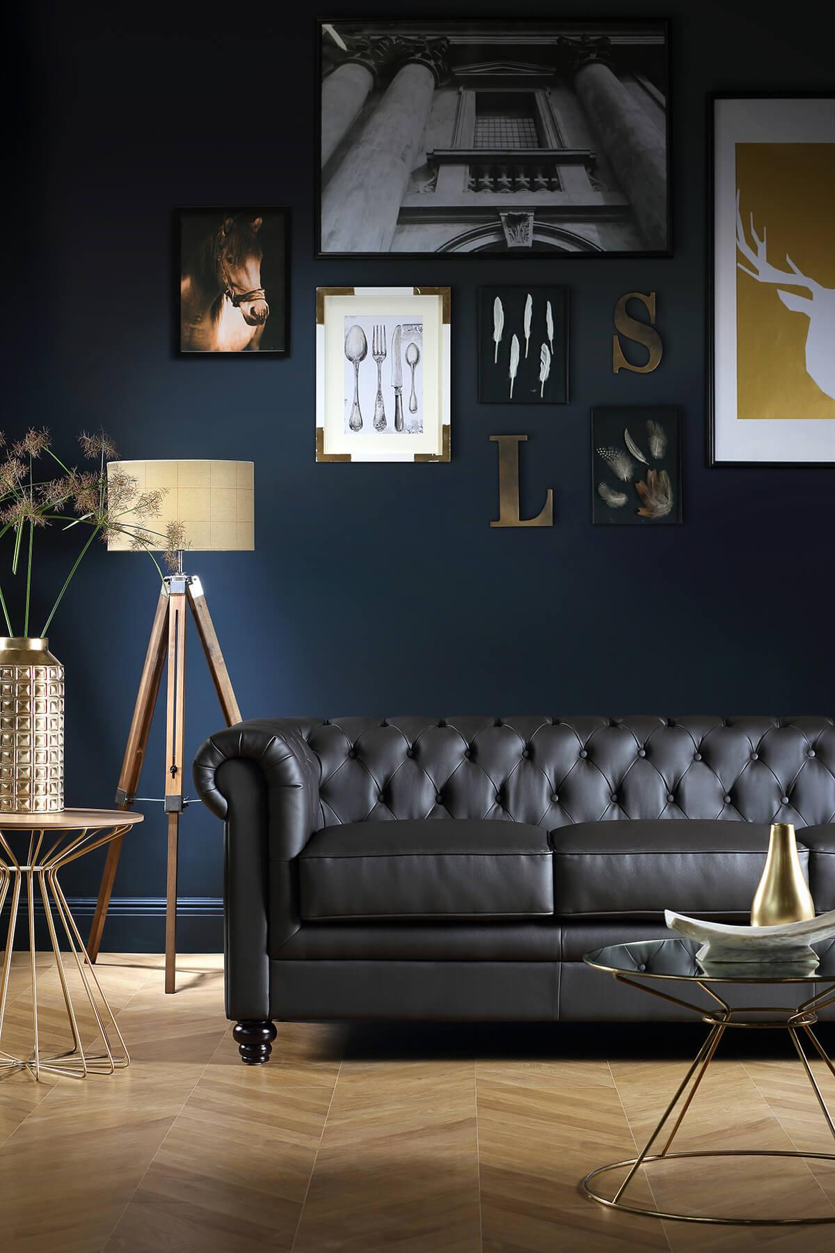 Hampton brown three seater sofa