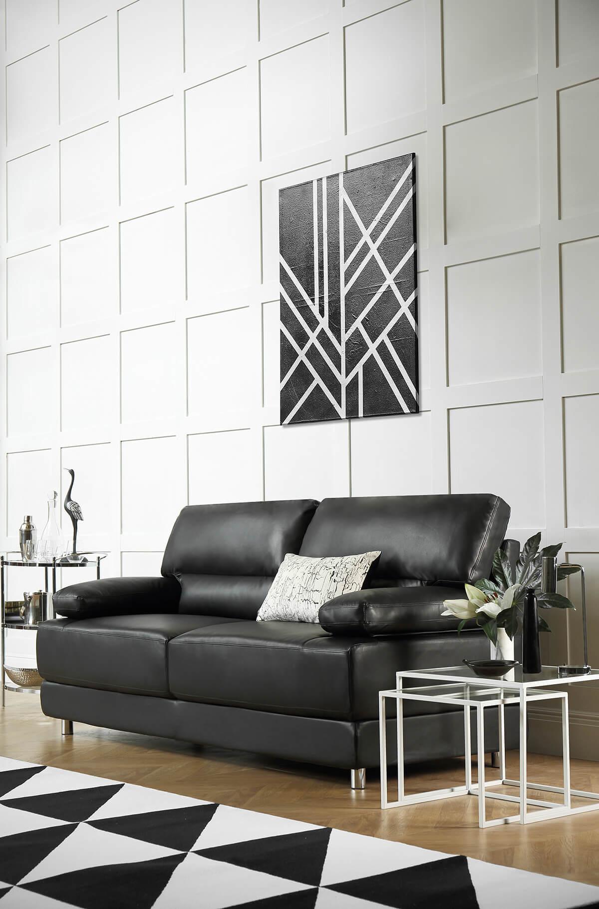Rocco black three seater sofa