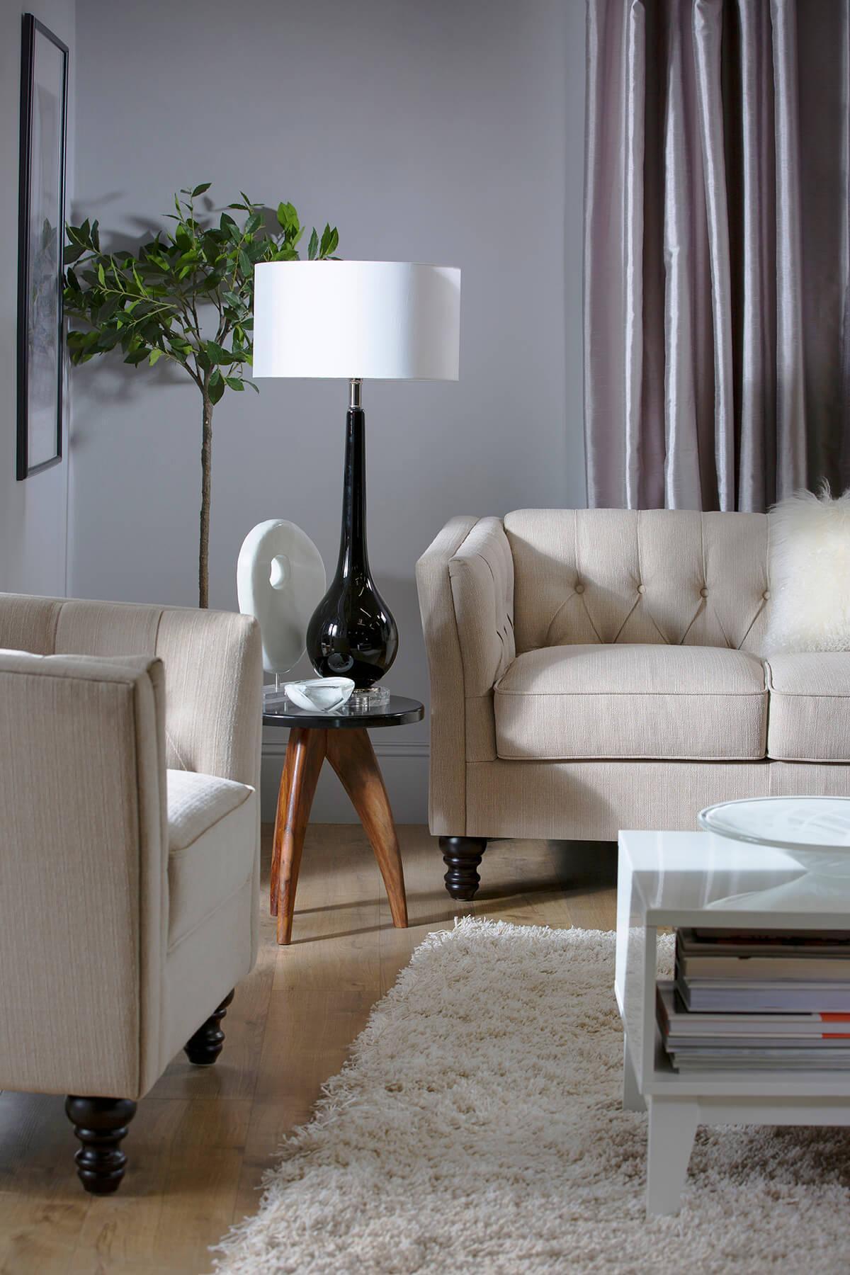 Sanderson oatmeal armchair three seater sofa