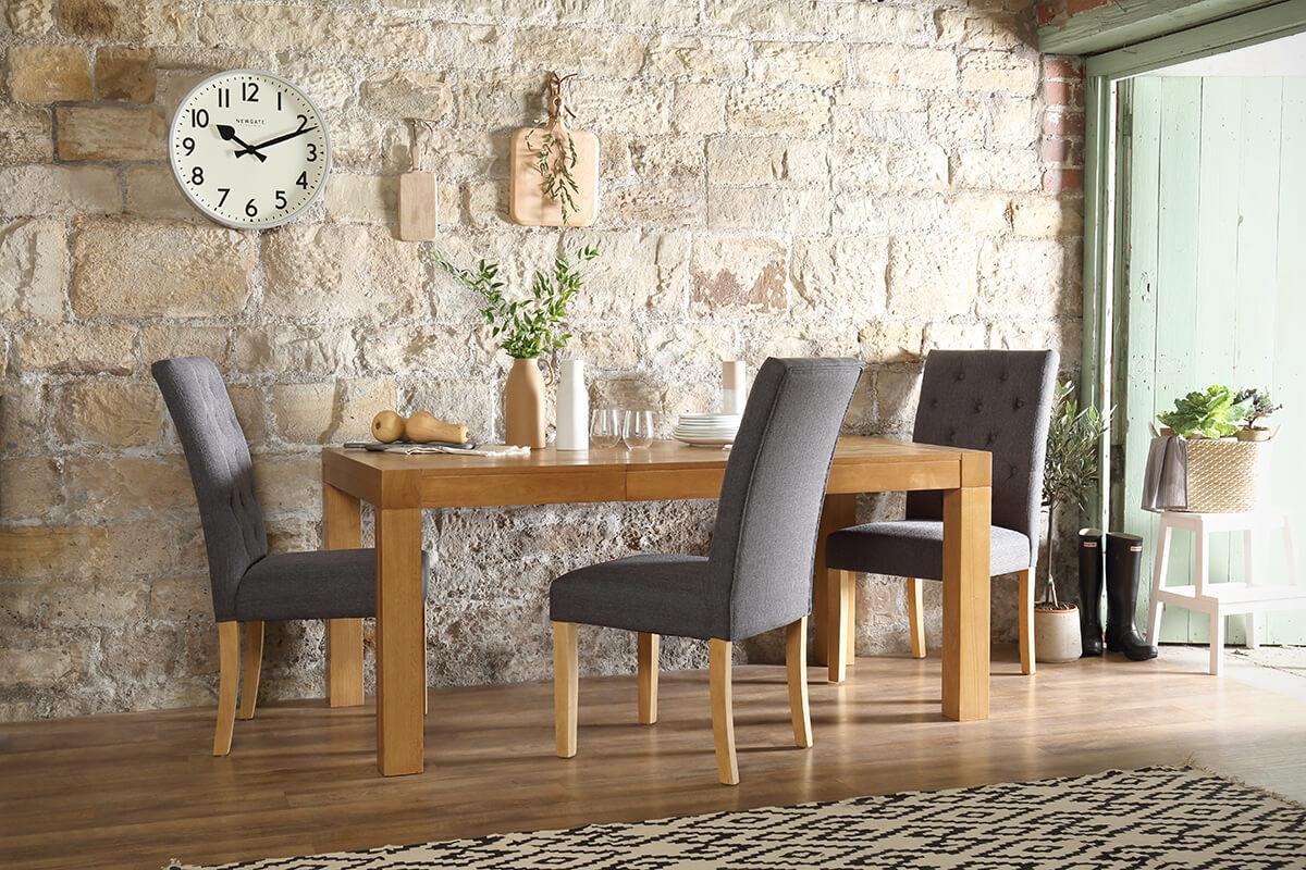 Cambridge oak 175cm extender table Hatfield slate chair