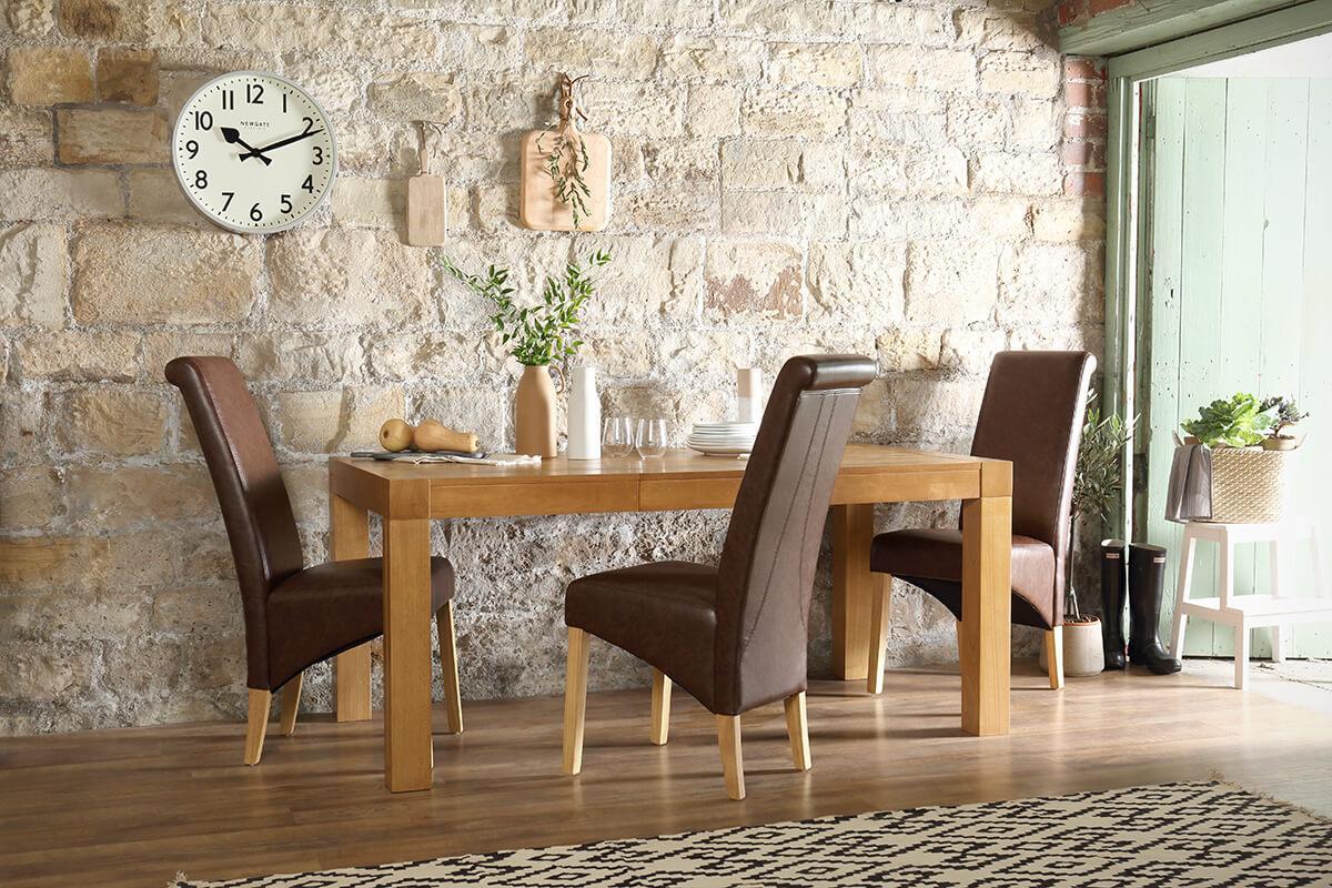 Cambridge oak 175cm extender table Richmond club brown chair