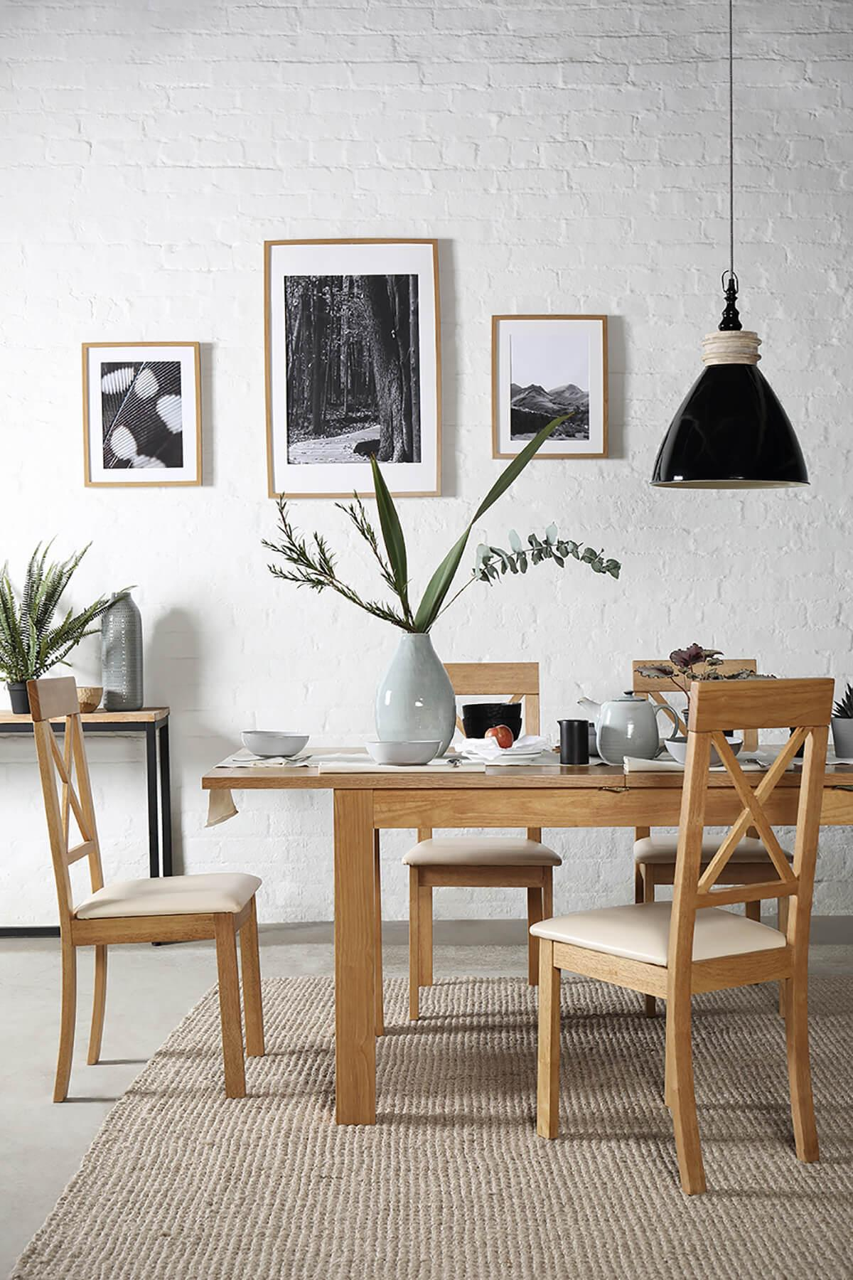 Hamilton 120-170cm Oak Extending Dining Table - with 6 Kendal Chairs (Brown Seat Pad)