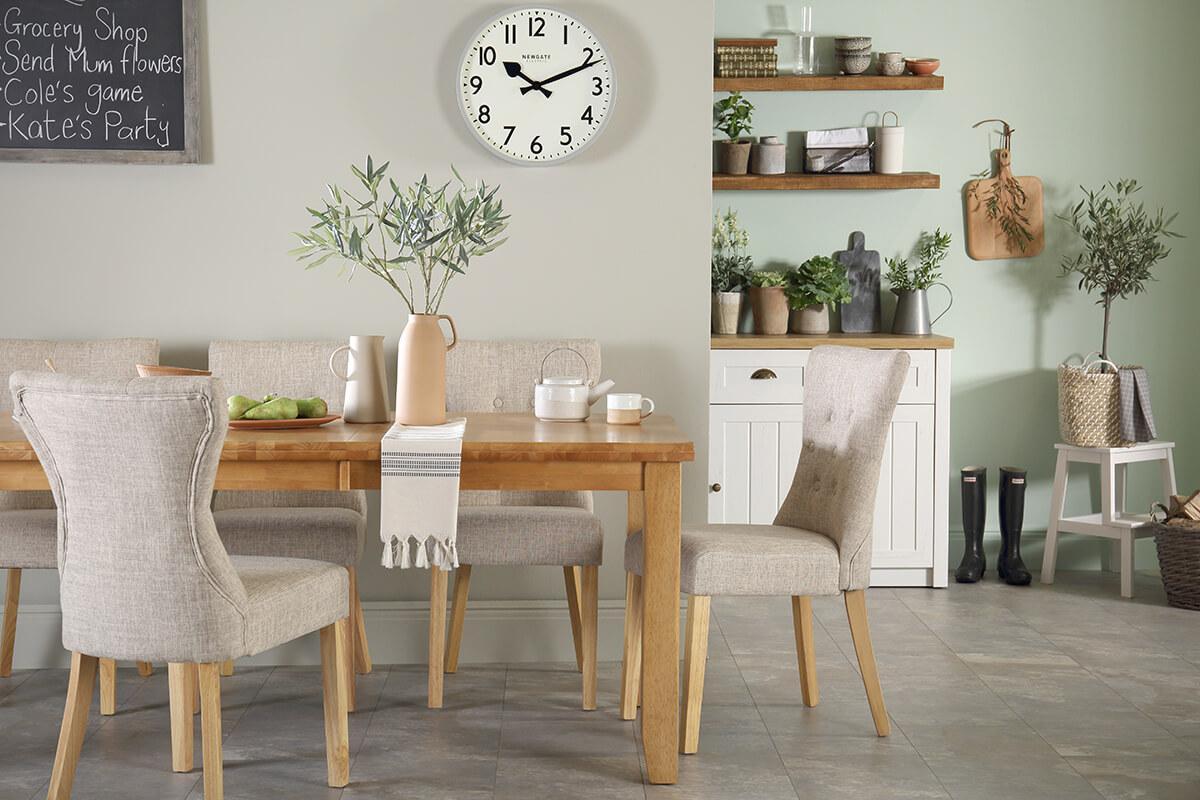 Highbury oak table Bewley oatmeal chair