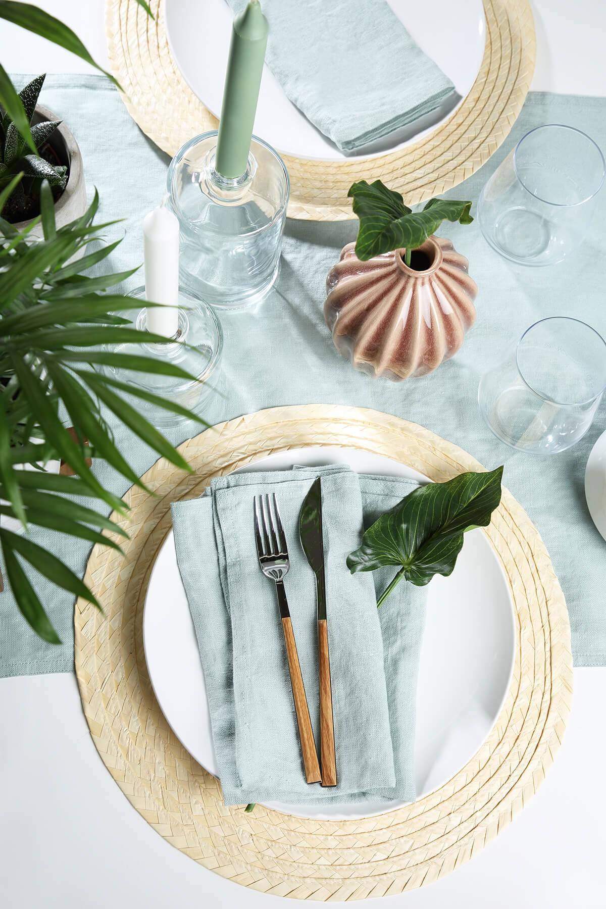 Aspen white wood table flatlay
