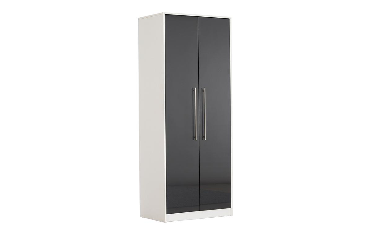 bloomsbury grey gloss 2 door wardrobe