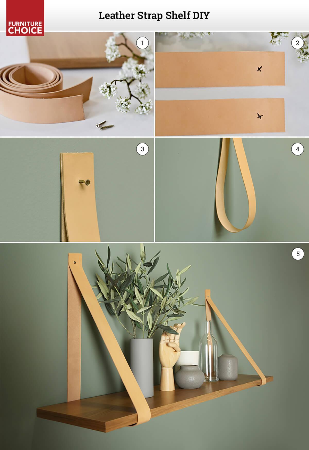 diy leather strap shelf