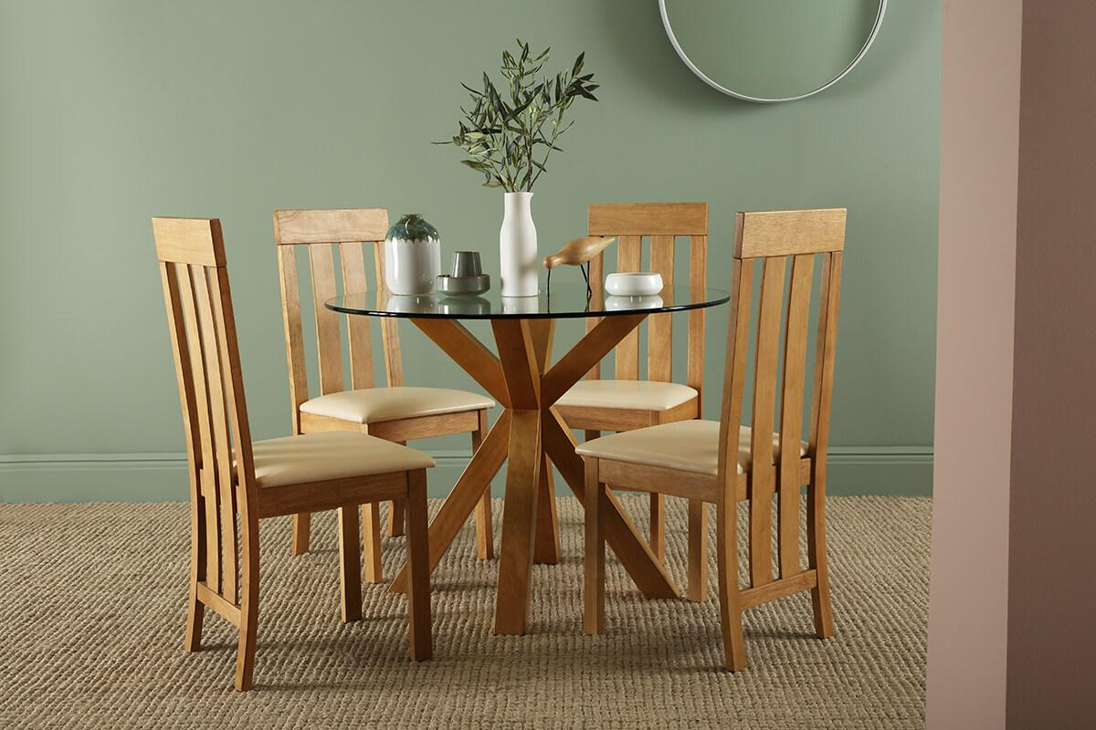 Hatton oak and glass Chester oak chairs main