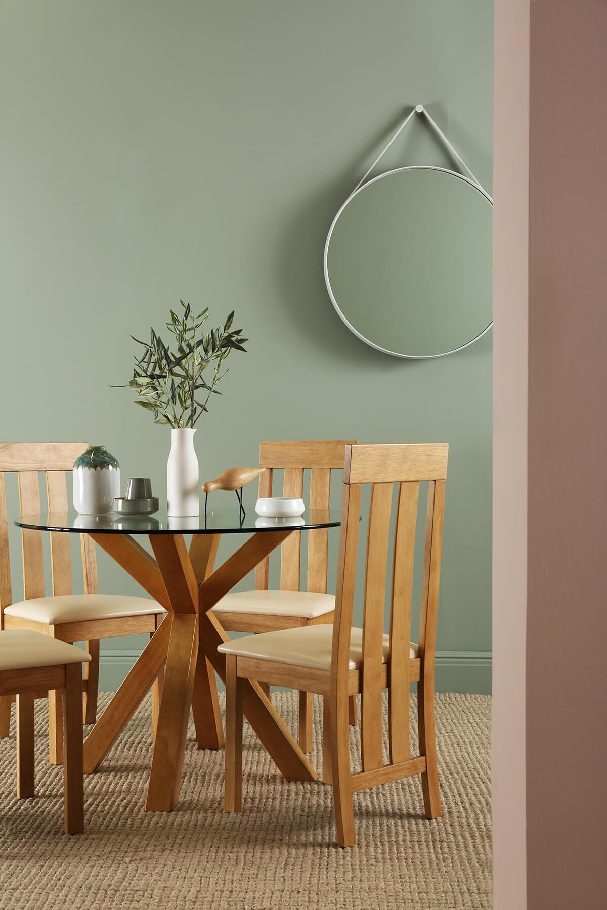 Hatton oak and glass Chester oak chairs portrait