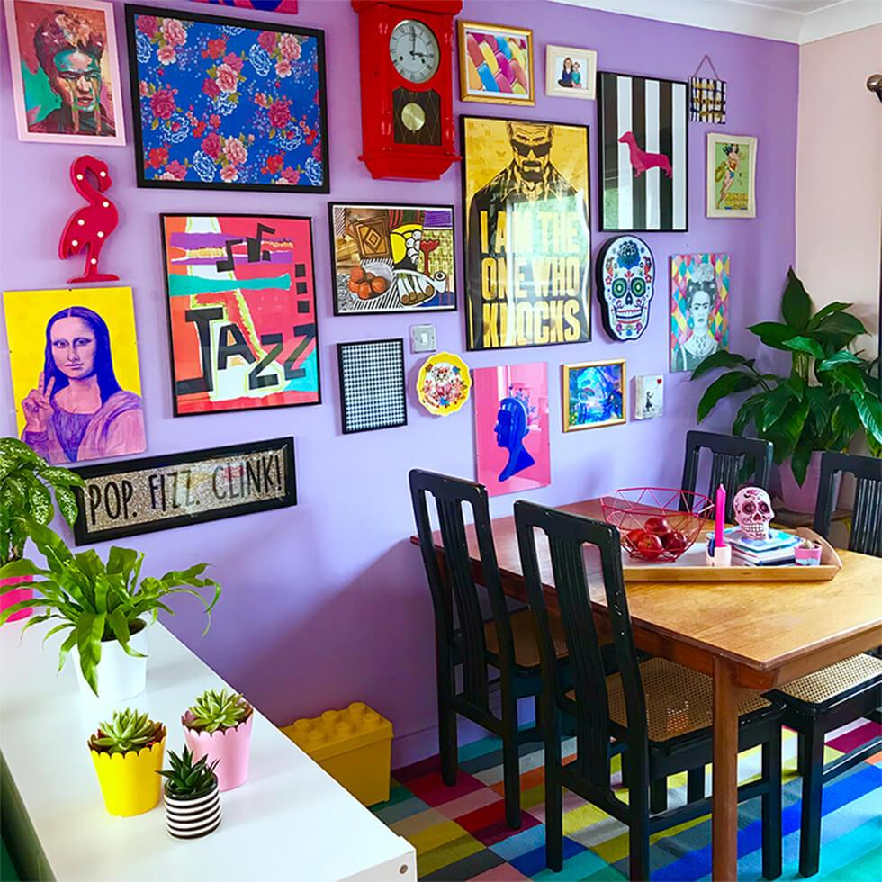 colourful pop art gallery wall in an orchid purple dining room