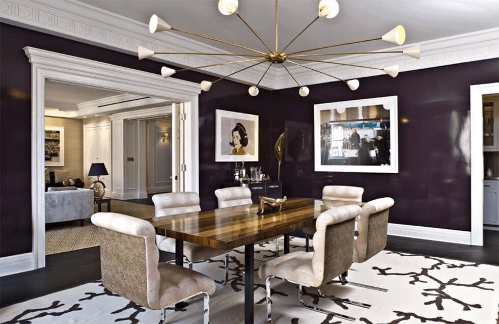 dark purple modern and formal dining room