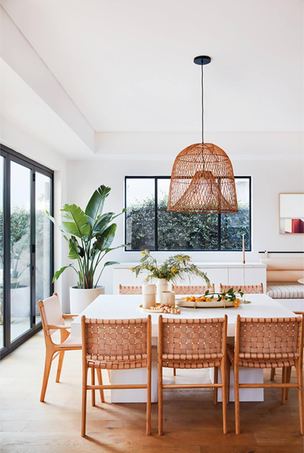 white contemporary natural dining room