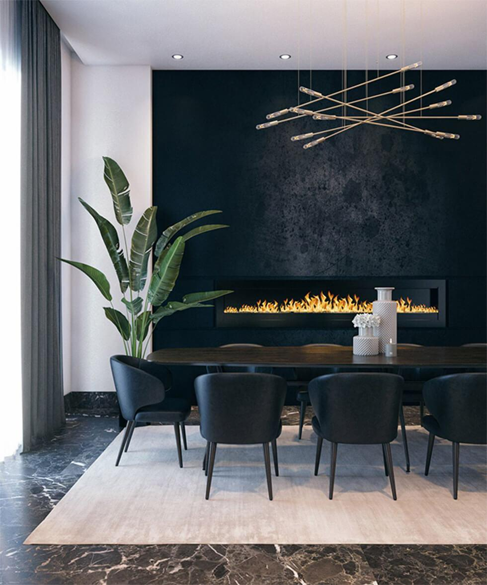 black feature wall in a modern minimalist dining room