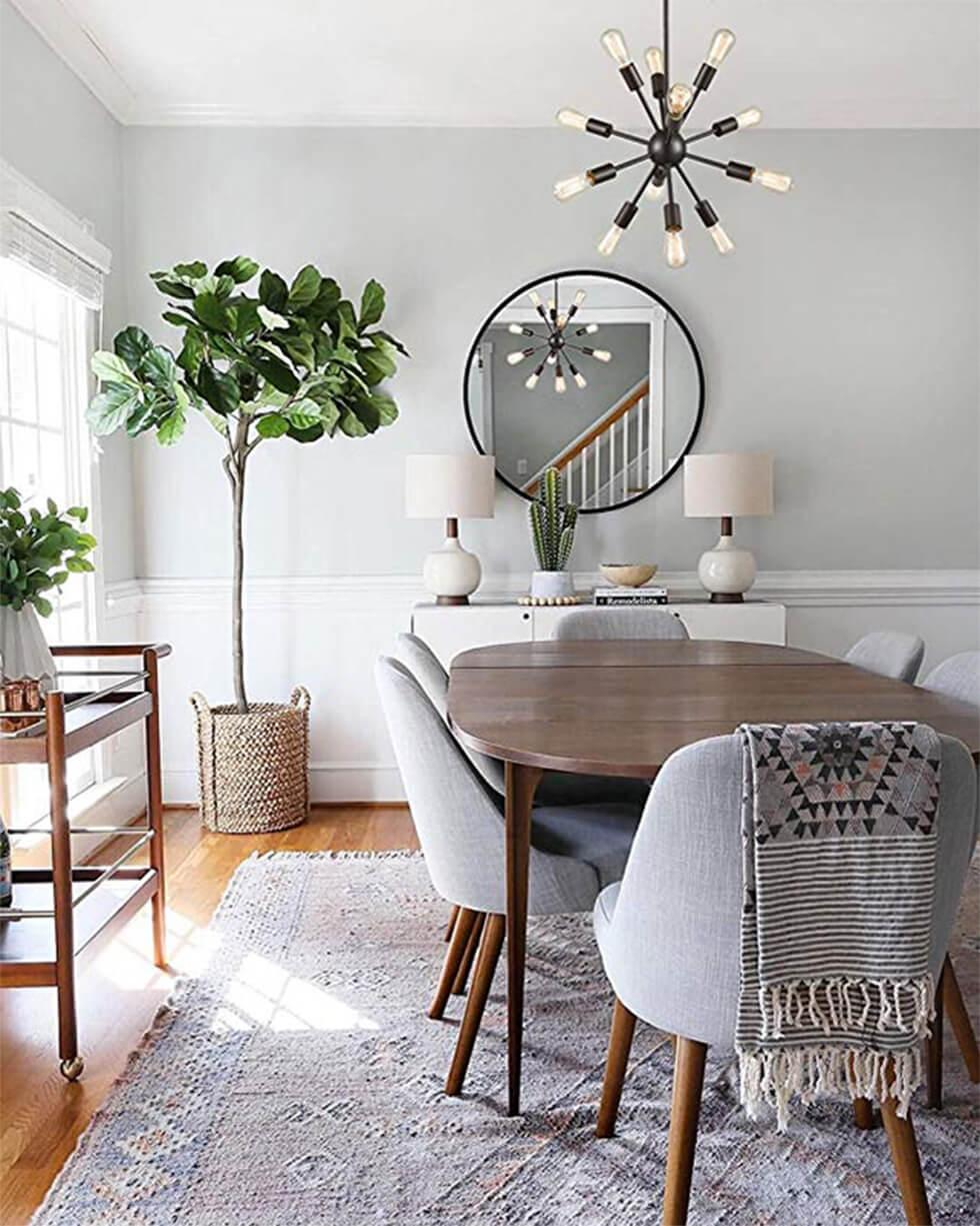 Grey Scandinavian dining room