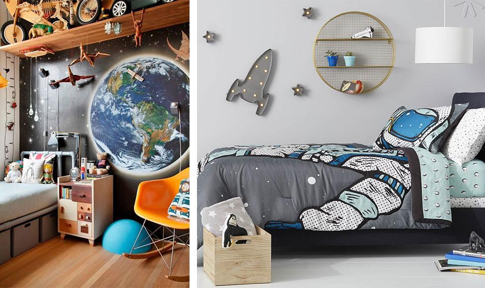 Space-themed kids bedrooms in blue and grey.