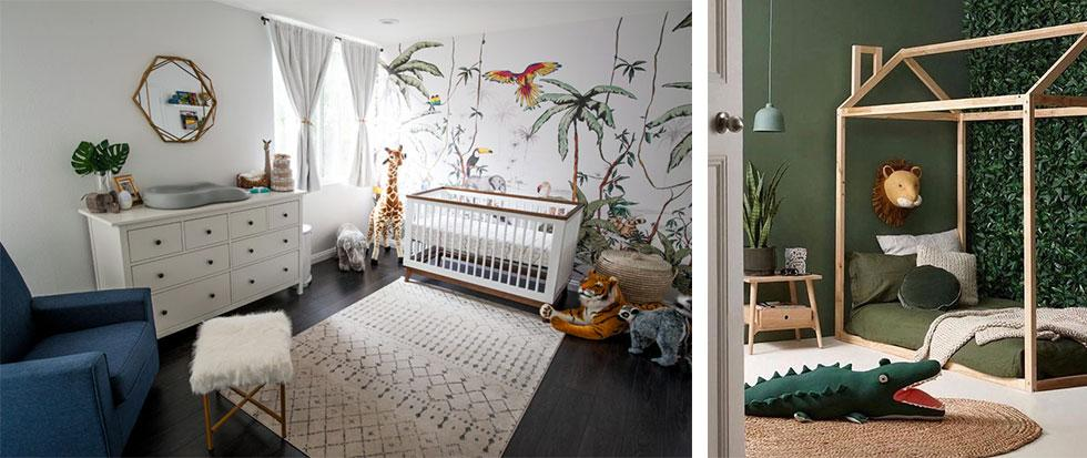 Kids bedrooms decorated with jungle scene wall decal and green walls.