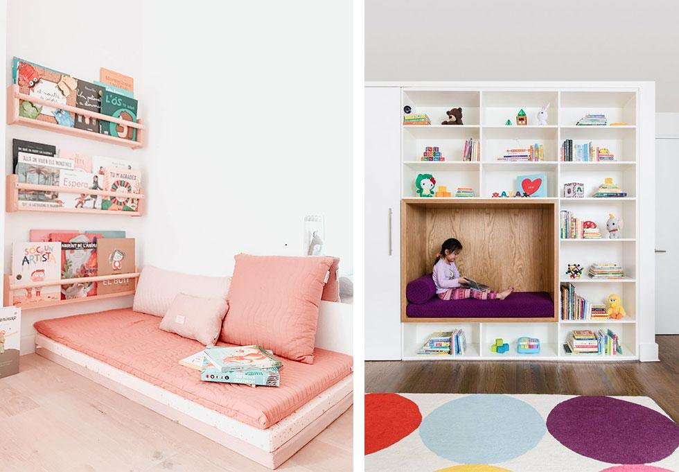 Kids bedrooms with bookshelves and reading nooks.