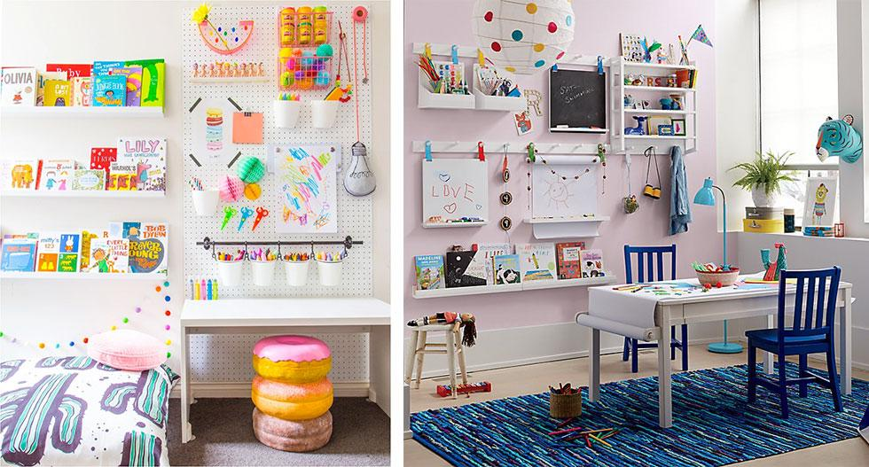 Kids bedrooms with arts and crafts materials corner.