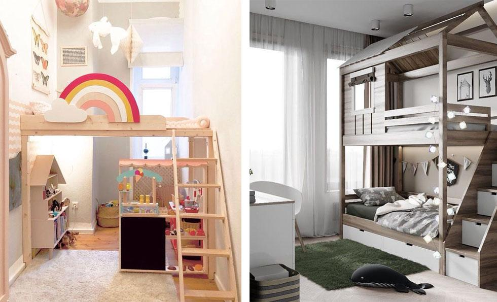 Kids bedrooms with bunk beds featuring work and play space underneath.