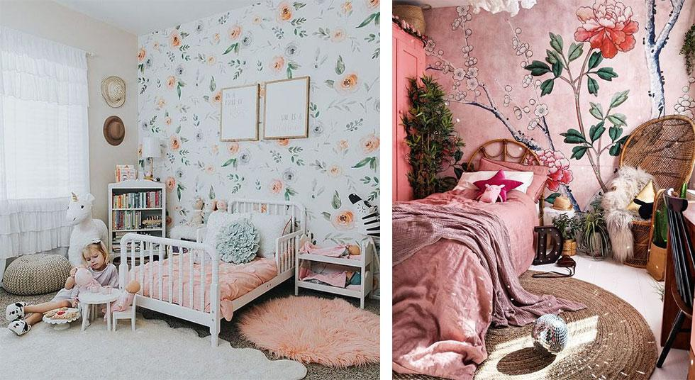 Light peach and pink kids bedrooms with floral wall decals.