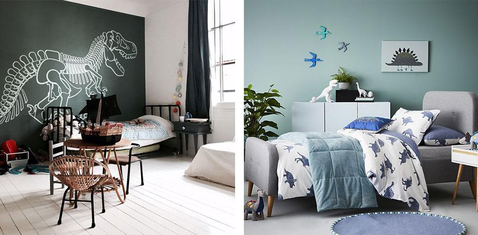 Kids bedrooms with dinosaur decals and decor.