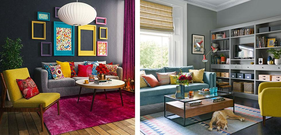 Yellow chair and grey sofa in a colourful living room.