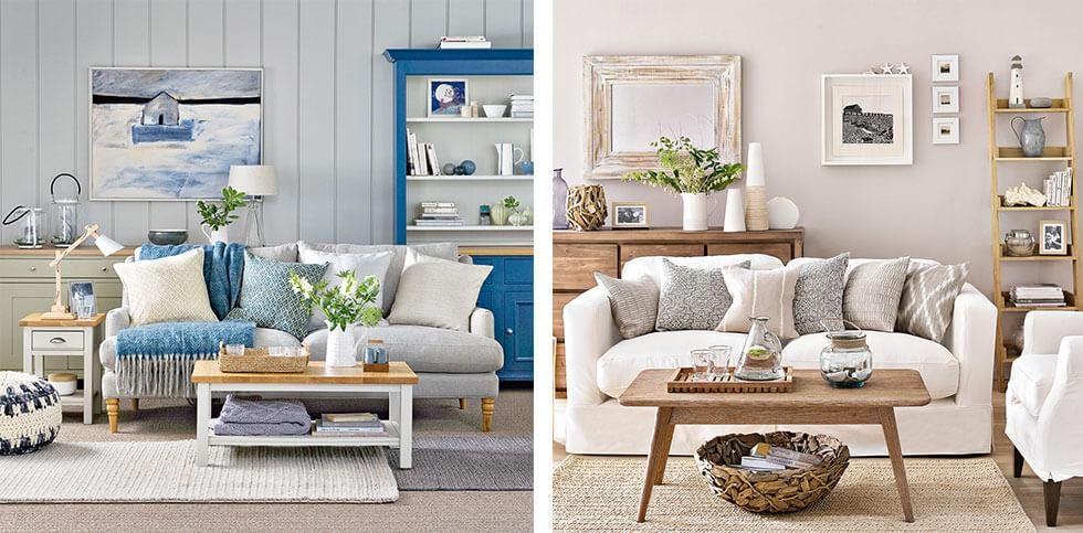 Grey rooms with blue and ivory furniture respectively.