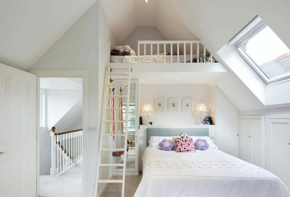 Loft bedroom with high ceiling and loft bed