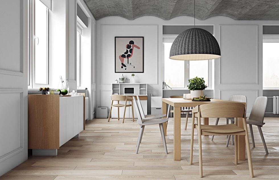 scandinavian inspired grey dining room in a neutral palette