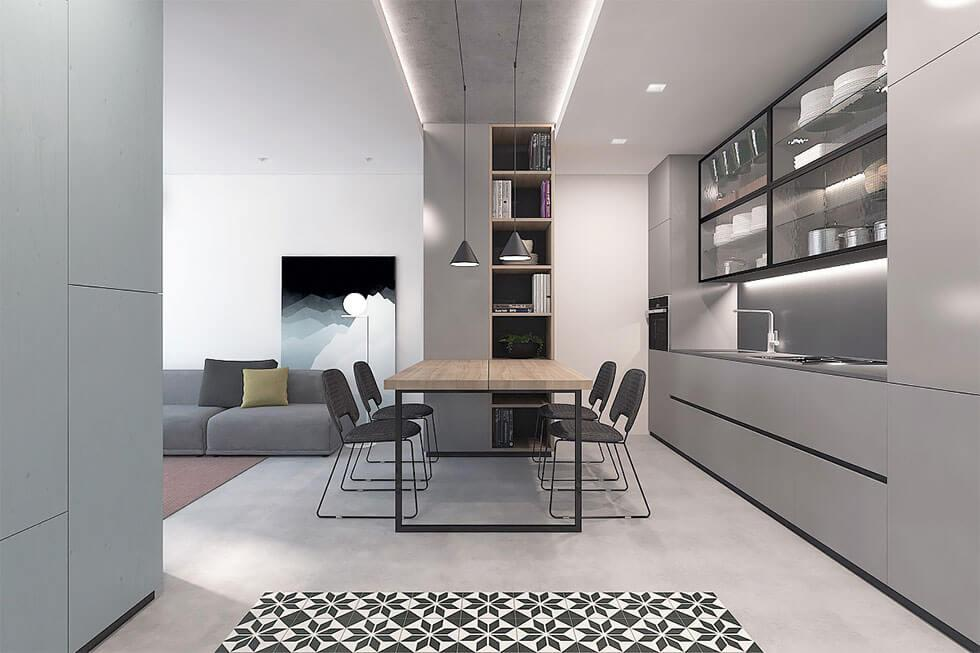 minimalist grey dining room with thin legged furniture and clean surfaces
