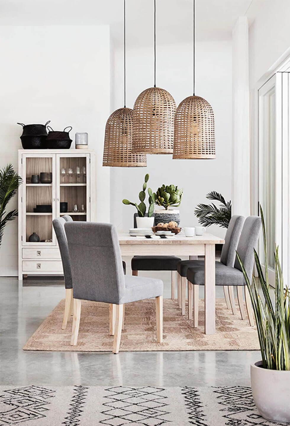 rustic rattan lights in a tropical style grey dining room