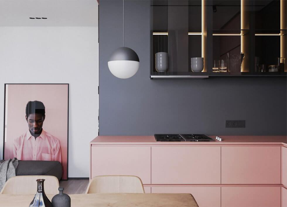 feminine and chic pink and grey dining room combination
