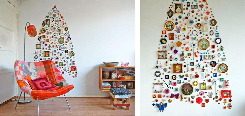 Objects assembled into a Christmas tree.